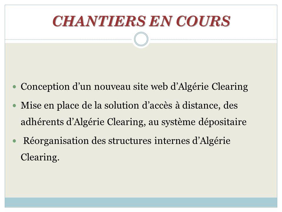 CHANTIERS EN COURS Conception dun nouveau site web dAlgérie Clearing Mise en place de la solution daccès à distance, des adhérents dAlgérie Clearing,