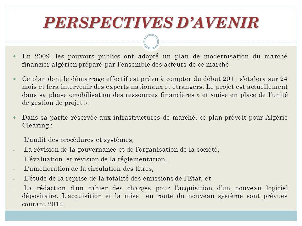 PERSPECTIVES DAVENIR En 2009, les pouvoirs publics ont adopté un plan de modernisation du marché financier algérien préparé par lensemble des acteurs de ce marché.
