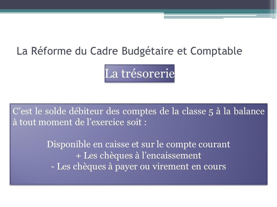 La Réforme du Cadre Budgétaire et Comptable La trésorerie Cest le solde débiteur des comptes de la classe 5 à la balance à tout moment de lexercice so