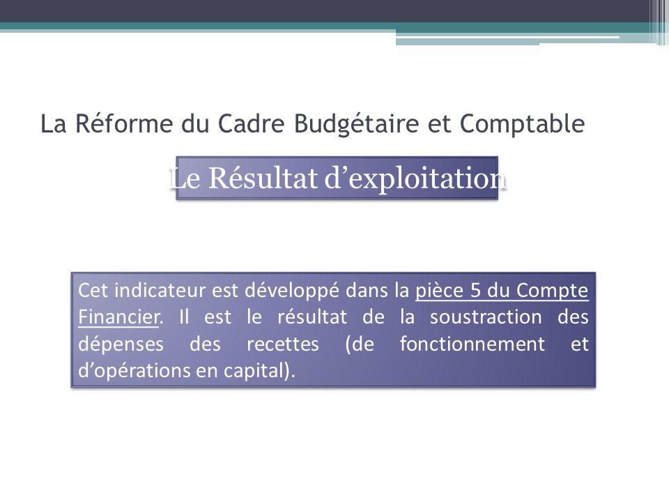 La Réforme du Cadre Budgétaire et Comptable Cet indicateur est développé dans la pièce 5 du Compte Financier. Il est le résultat de la soustraction de