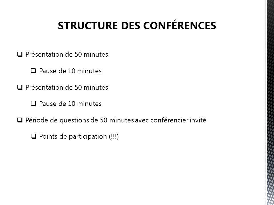 Présentation de 50 minutes Pause de 10 minutes Présentation de 50 minutes Pause de 10 minutes Période de questions de 50 minutes avec conférencier invité Points de participation (!!!)