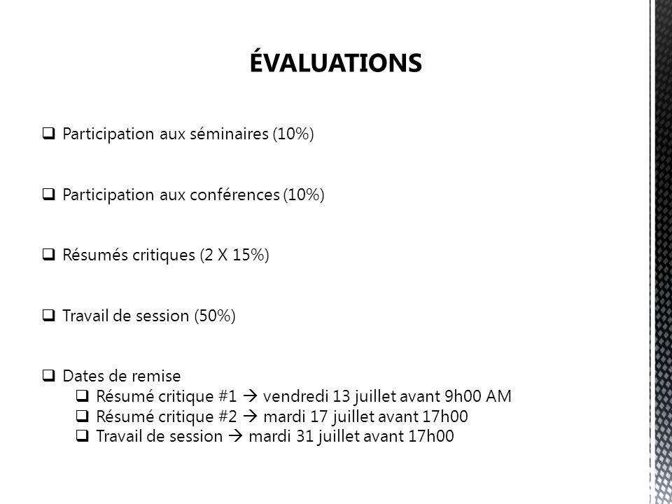 Participation aux séminaires (10%) Participation aux conférences (10%) Résumés critiques (2 X 15%) Travail de session (50%) Dates de remise Résumé cri