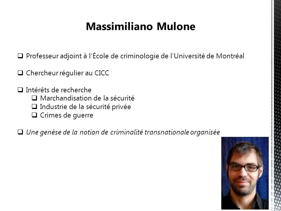 Professeur adjoint à lÉcole de criminologie de lUniversité de Montréal Chercheur régulier au CICC Intérêts de recherche Marchandisation de la sécurité