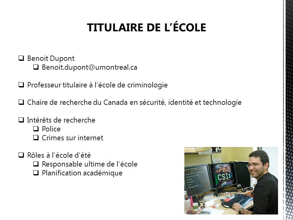 Benoit Dupont Benoit.dupont@umontreal.ca Professeur titulaire à lécole de criminologie Chaire de recherche du Canada en sécurité, identité et technolo