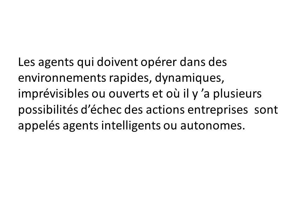 Les agents qui doivent opérer dans des environnements rapides, dynamiques, imprévisibles ou ouverts et où il y a plusieurs possibilités déchec des actions entreprises sont appelés agents intelligents ou autonomes.