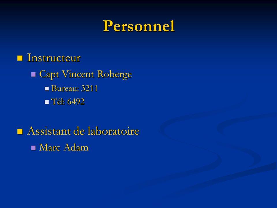 Personnel Instructeur Instructeur Capt Vincent Roberge Capt Vincent Roberge Bureau: 3211 Bureau: 3211 Tél: 6492 Tél: 6492 Assistant de laboratoire Ass