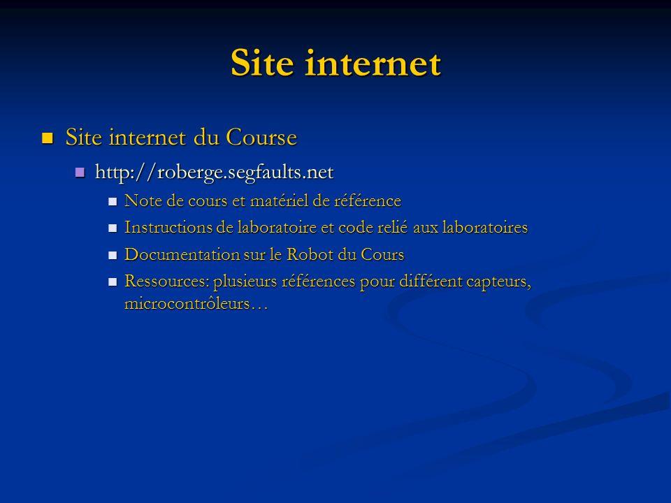 Site internet Site internet du Course Site internet du Course http://roberge.segfaults.net http://roberge.segfaults.net Note de cours et matériel de r