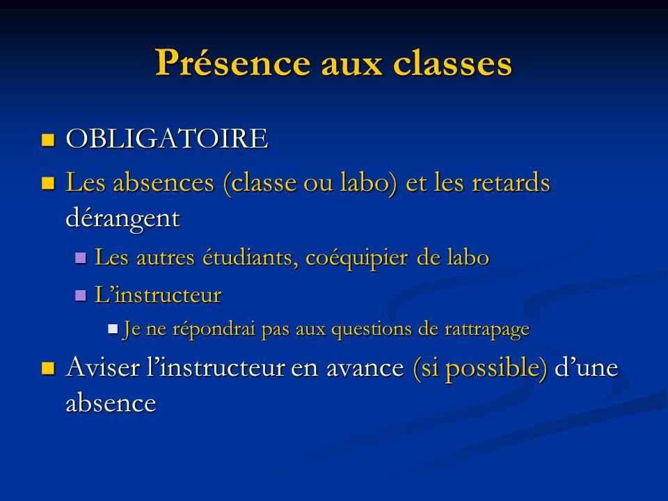 Présence aux classes OBLIGATOIRE OBLIGATOIRE Les absences (classe ou labo) et les retards dérangent Les absences (classe ou labo) et les retards déran