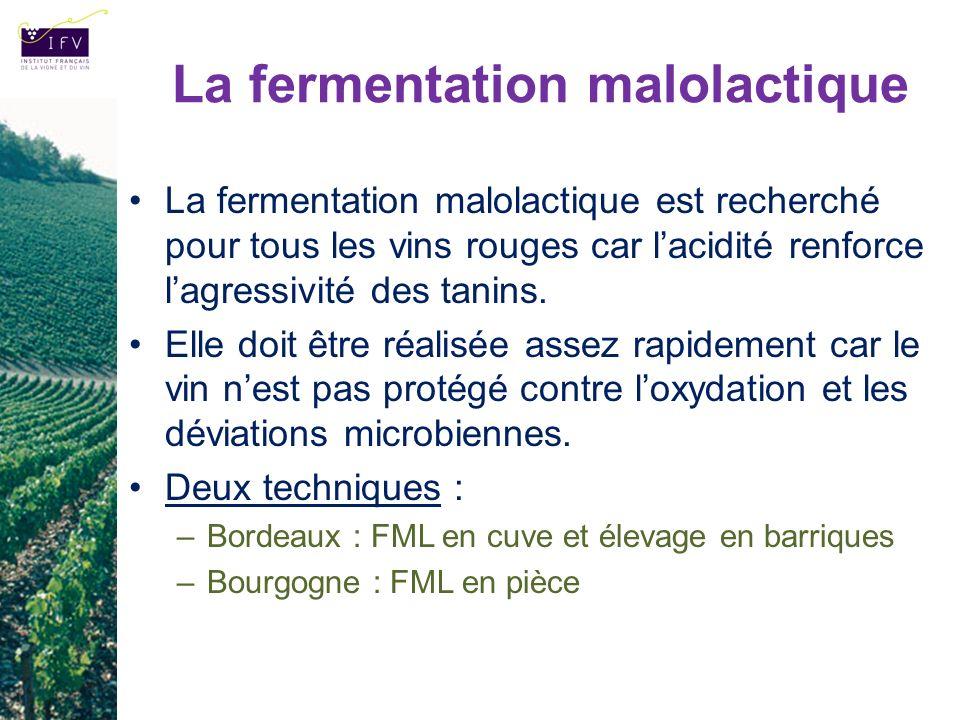 La fermentation malolactique La fermentation malolactique est recherché pour tous les vins rouges car lacidité renforce lagressivité des tanins. Elle