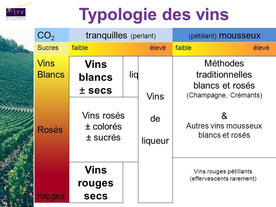 Typologie des vins Vins Blancs Rosés rouges Sucresfaible élevé Vins blancs ± secs Vins liquoreux Méthodes traditionnelles blancs et rosés (Champagne,