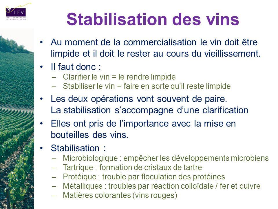 Au moment de la commercialisation le vin doit être limpide et il doit le rester au cours du vieillissement. Il faut donc : –Clarifier le vin = le rend