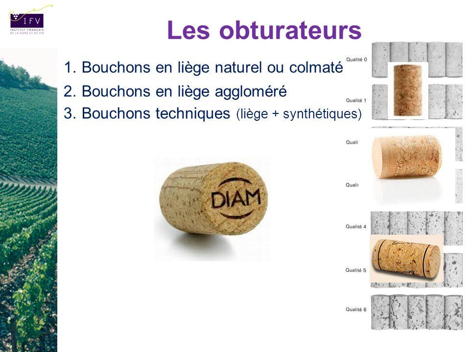Les obturateurs 1.Bouchons en liège naturel ou colmaté 2.Bouchons en liège aggloméré 3.Bouchons techniques (liège + synthétiques)