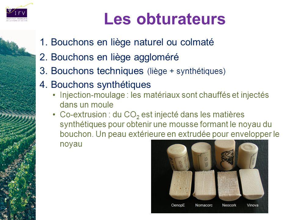 Les obturateurs 1.Bouchons en liège naturel ou colmaté 2.Bouchons en liège aggloméré 3.Bouchons techniques (liège + synthétiques) 4.Bouchons synthétiq