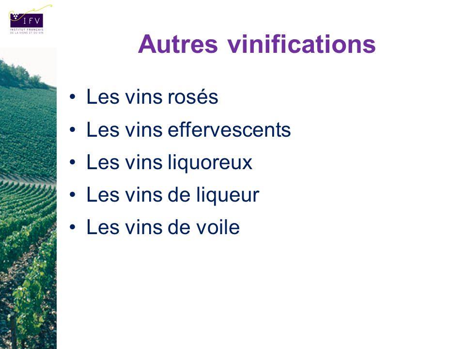 Autres vinifications Les vins rosés Les vins effervescents Les vins liquoreux Les vins de liqueur Les vins de voile