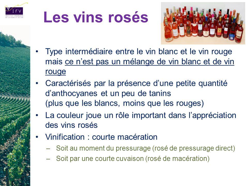 Type intermédiaire entre le vin blanc et le vin rouge mais ce nest pas un mélange de vin blanc et de vin rouge Caractérisés par la présence dune petit