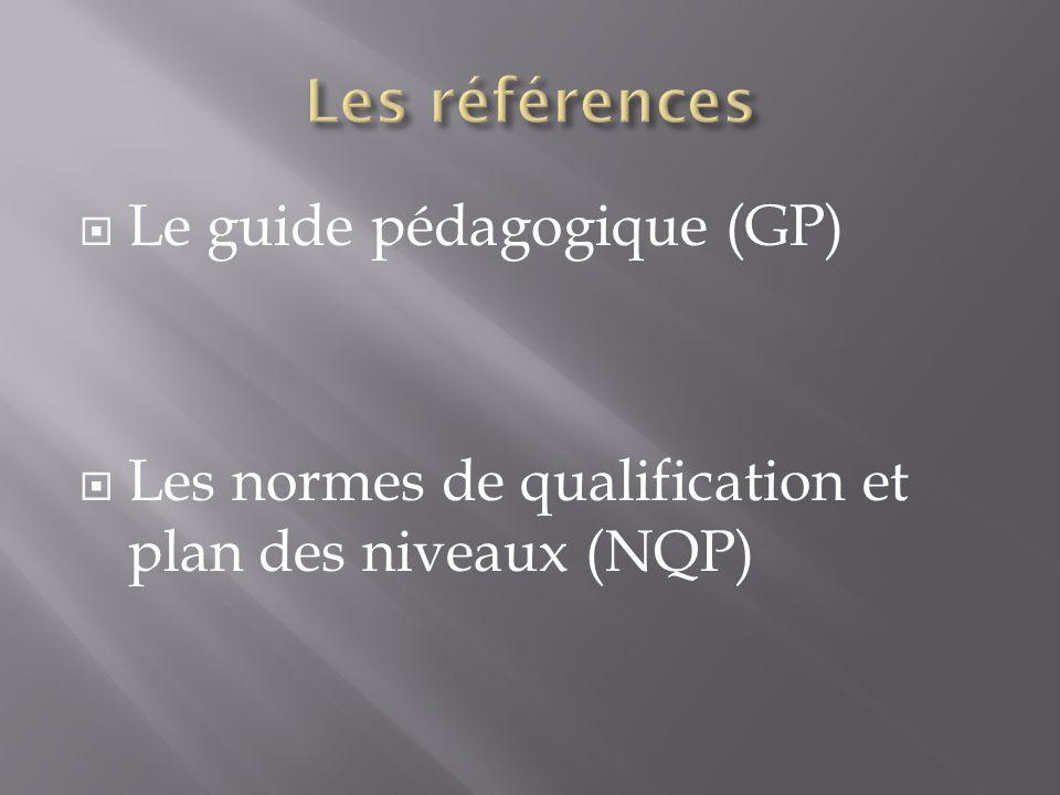 Le guide pédagogique (GP) Les normes de qualification et plan des niveaux (NQP)