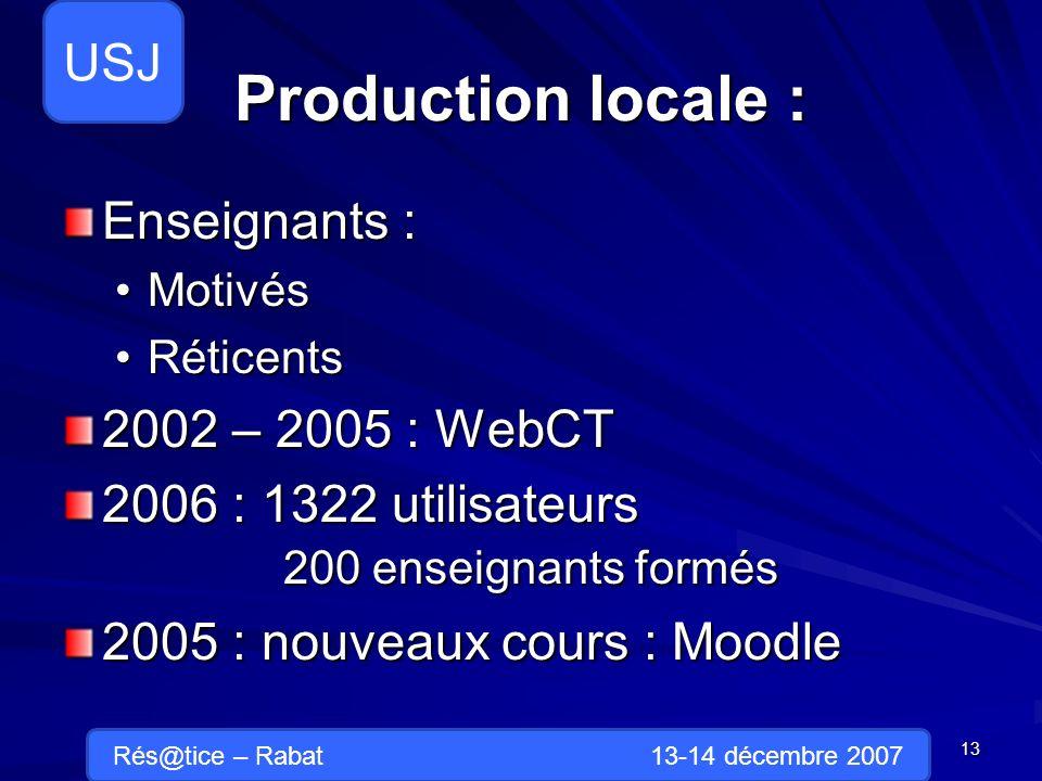 Production locale : Enseignants : MotivésMotivés RéticentsRéticents 2002 – 2005 : WebCT 2006 : 1322 utilisateurs 200 enseignants formés 2005 : nouveaux cours : Moodle 13 Rés@tice – Rabat 13-14 décembre 2007 USJ