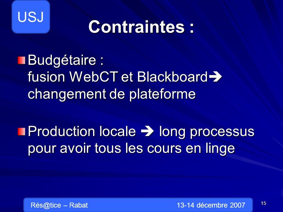 Contraintes : Budgétaire : fusion WebCT et Blackboard changement de plateforme Production locale long processus pour avoir tous les cours en linge 15 Rés@tice – Rabat 13-14 décembre 2007 USJ