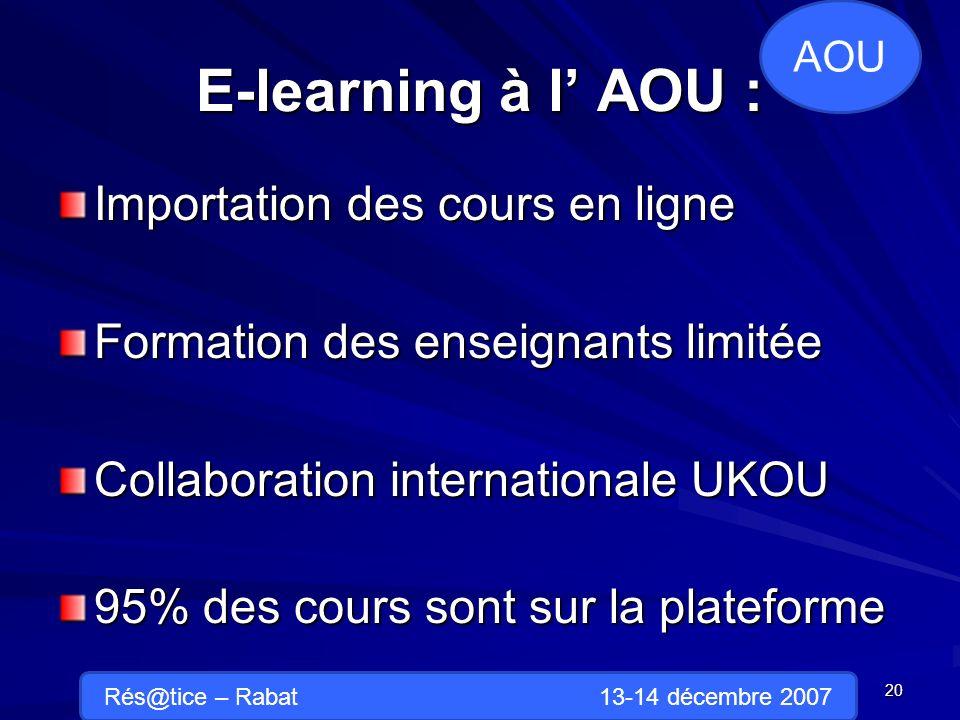E-learning à l AOU : Importation des cours en ligne Formation des enseignants limitée Collaboration internationale UKOU 95% des cours sont sur la plateforme 20 AOU Rés@tice – Rabat 13-14 décembre 2007
