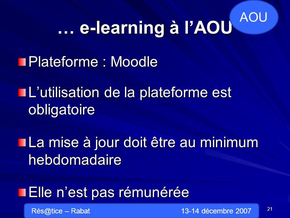 … e-learning à lAOU Plateforme : Moodle Lutilisation de la plateforme est obligatoire La mise à jour doit être au minimum hebdomadaire Elle nest pas rémunérée 21 AOU Rés@tice – Rabat 13-14 décembre 2007
