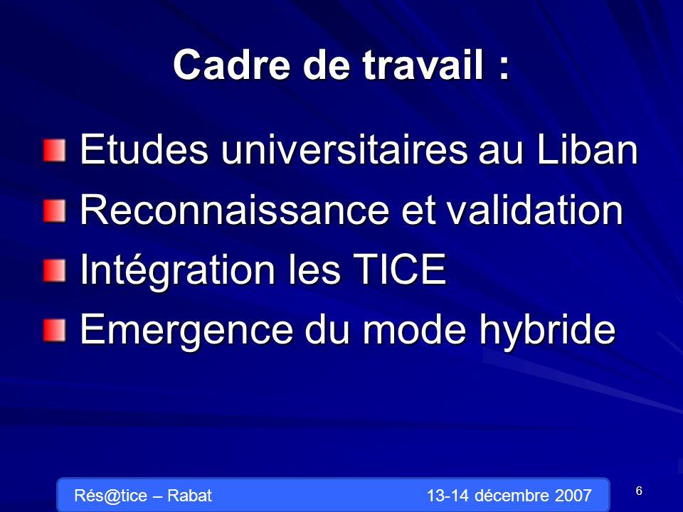 Cadre de travail : Etudes universitaires au Liban Etudes universitaires au Liban Reconnaissance et validation Reconnaissance et validation Intégration les TICE Intégration les TICE Emergence du mode hybride Emergence du mode hybride 6 Rés@tice – Rabat 13-14 décembre 2007