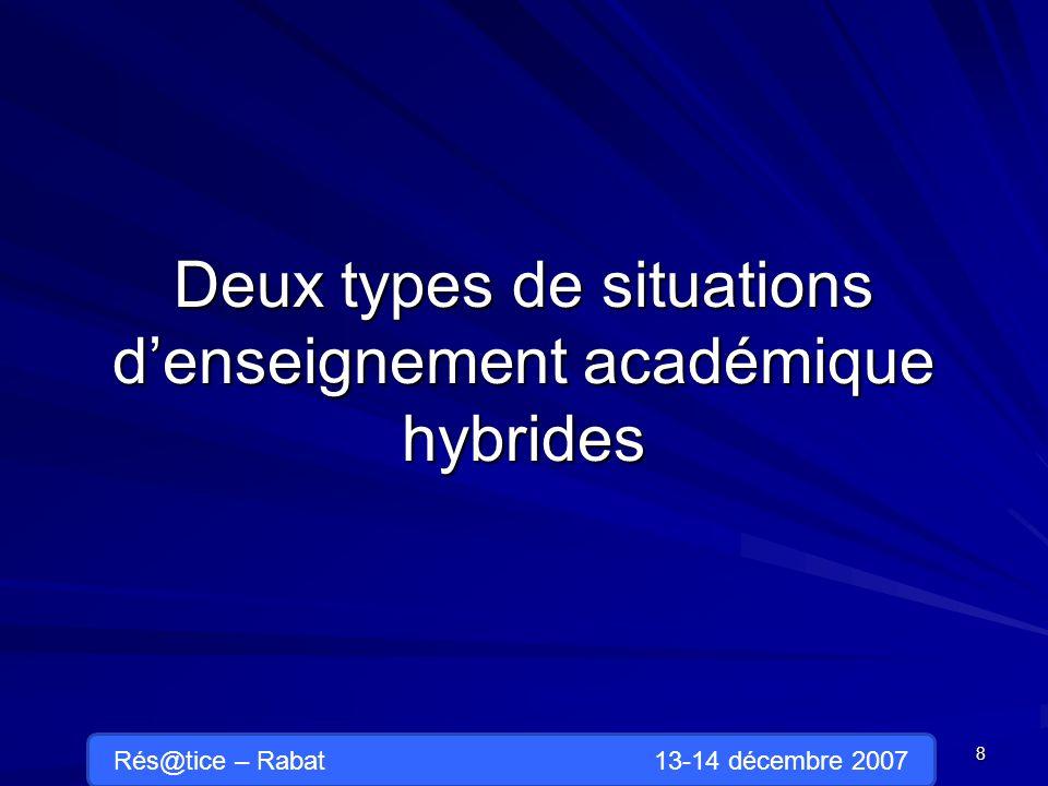 Deux types de situations denseignement académique hybrides 8 Rés@tice – Rabat 13-14 décembre 2007