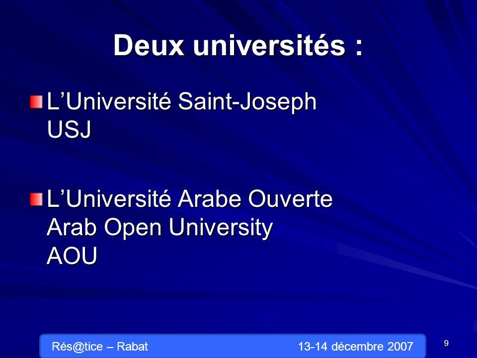 Deux universités : LUniversité Saint-Joseph USJ LUniversité Arabe Ouverte Arab Open University AOU 9 Rés@tice – Rabat 13-14 décembre 2007