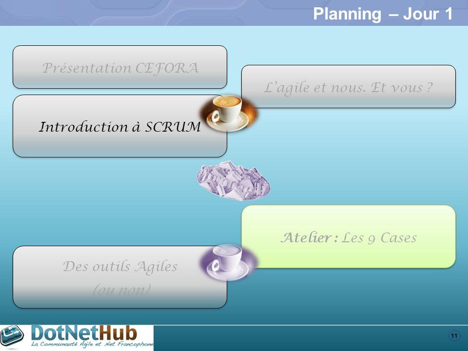 11 Planning – Jour 1 Introduction à SCRUM Atelier : Les 9 Cases Des outils Agiles (ou non) Des outils Agiles (ou non) Présentation CEFORA Lagile et no