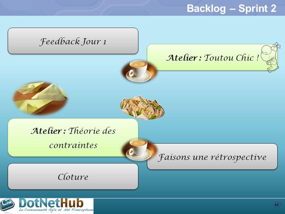 42 Backlog – Sprint 2 Feedback Jour 1 Atelier : Toutou Chic ! Atelier : Théorie des contraintes Faisons une rétrospective Cloture