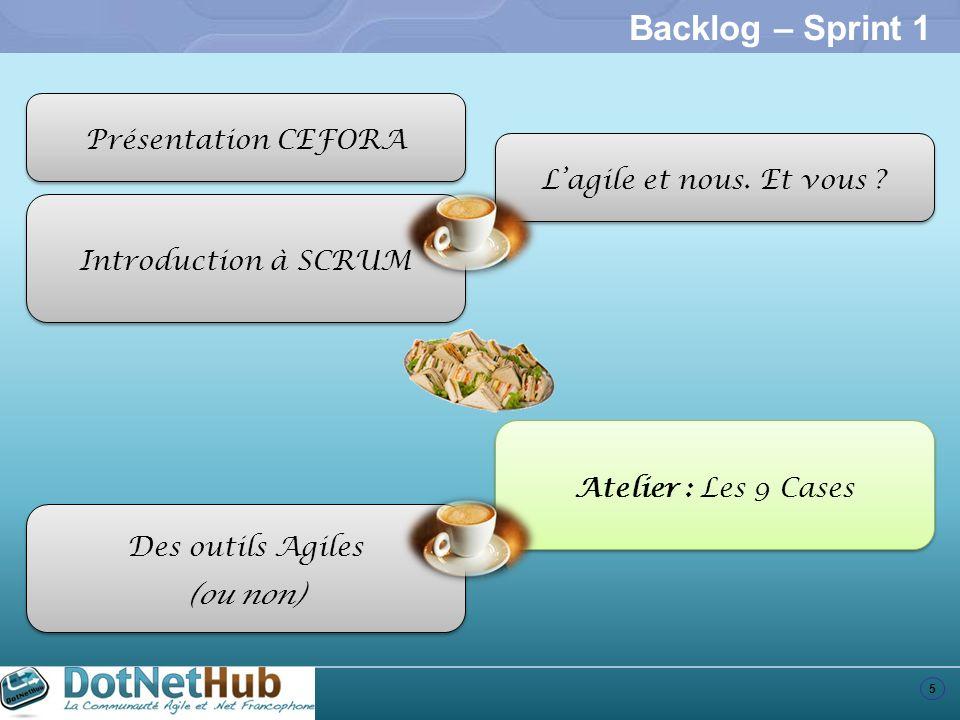 5 Backlog – Sprint 1 Introduction à SCRUM Atelier : Les 9 Cases Des outils Agiles (ou non) Des outils Agiles (ou non) Présentation CEFORA Lagile et no