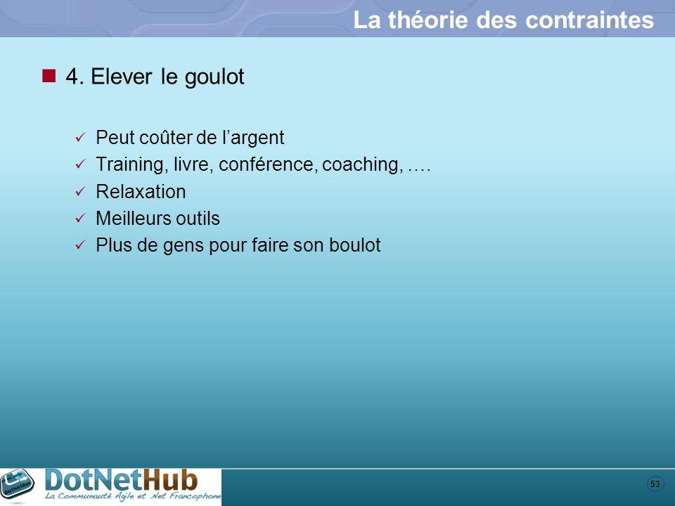 53 La théorie des contraintes 4. Elever le goulot Peut coûter de largent Training, livre, conférence, coaching, …. Relaxation Meilleurs outils Plus de