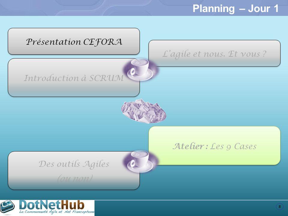 8 Planning – Jour 1 Introduction à SCRUM Atelier : Les 9 Cases Des outils Agiles (ou non) Des outils Agiles (ou non) Présentation CEFORA Lagile et nou