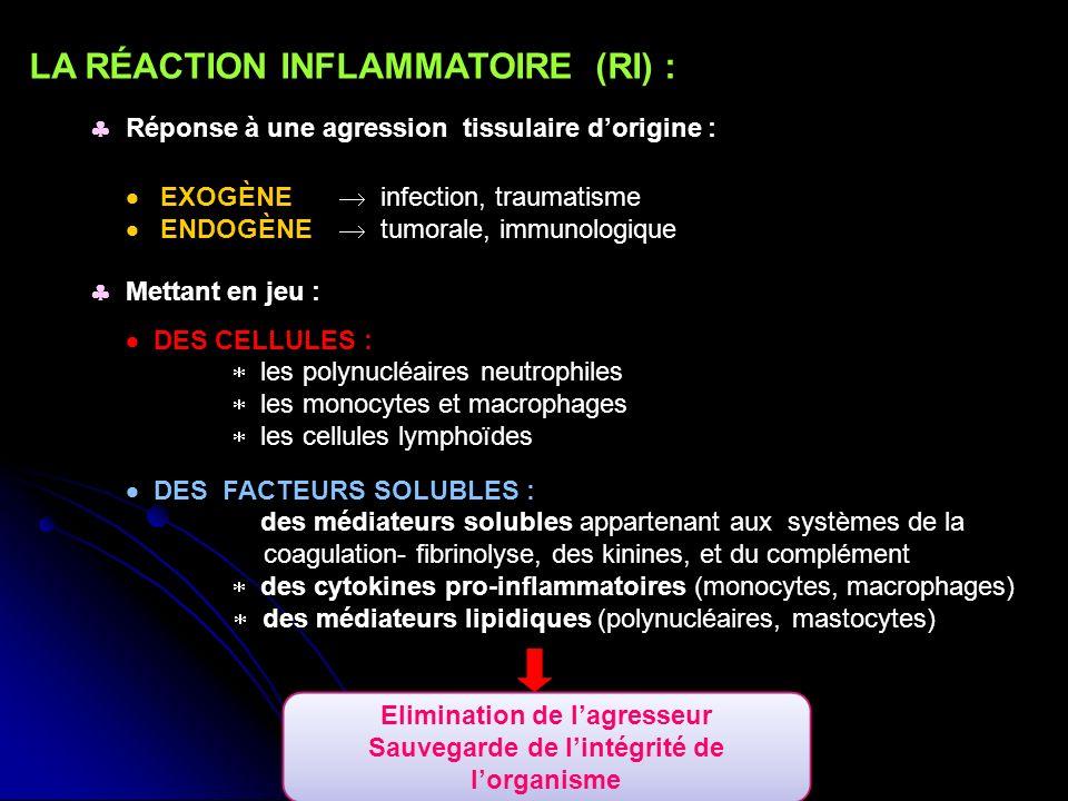 LA RÉACTION INFLAMMATOIRE (RI) : Réponse à une agression tissulaire dorigine : Mettant en jeu : DES CELLULES : les polynucléaires neutrophiles les monocytes et macrophages les cellules lymphoïdes DES FACTEURS SOLUBLES : des médiateurs solubles appartenant aux systèmes de la coagulation- fibrinolyse, des kinines, et du complément des cytokines pro-inflammatoires (monocytes, macrophages) des médiateurs lipidiques (polynucléaires, mastocytes) EXOGÈNE infection, traumatisme ENDOGÈNE tumorale, immunologique Elimination de lagresseur Sauvegarde de lintégrité de lorganisme