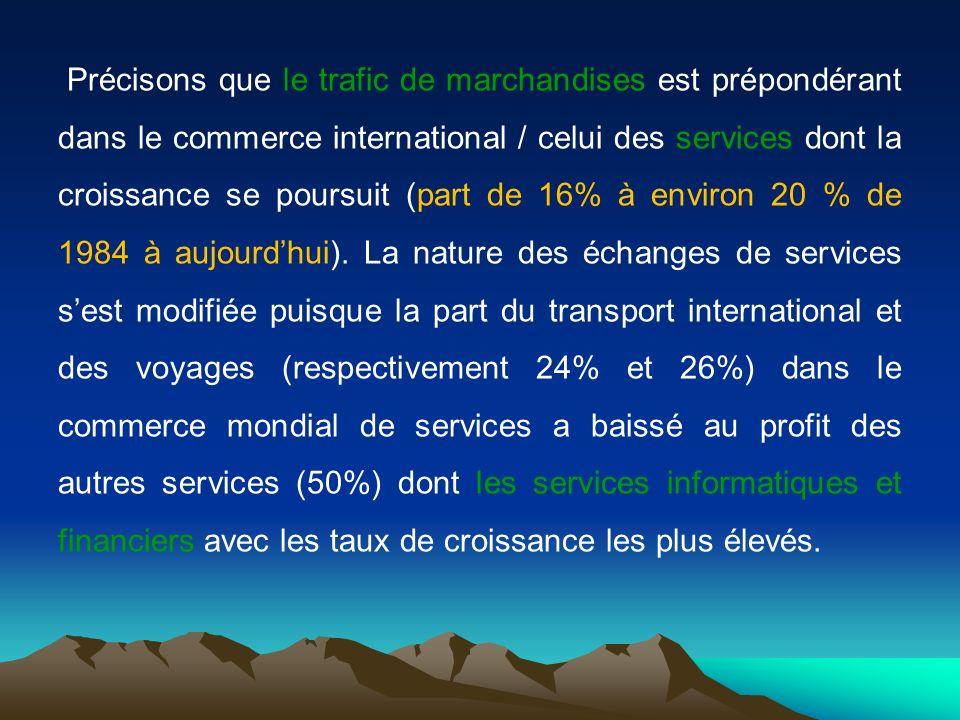 Précisons que le trafic de marchandises est prépondérant dans le commerce international / celui des services dont la croissance se poursuit (part de 16% à environ 20 % de 1984 à aujourdhui).