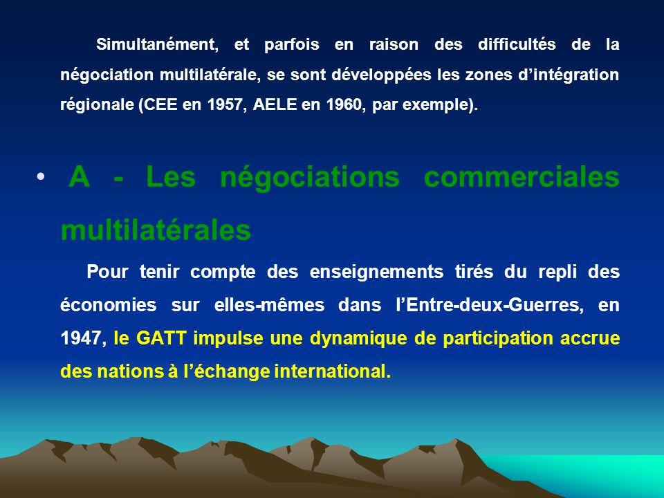 Simultanément, et parfois en raison des difficultés de la négociation multilatérale, se sont développées les zones dintégration régionale (CEE en 1957, AELE en 1960, par exemple).