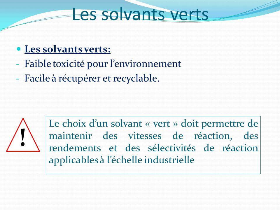 Les solvants verts Les solvants verts: - Faible toxicité pour lenvironnement - Facile à récupérer et recyclable. Le choix dun solvant « vert » doit pe
