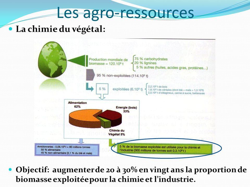 Les agro-ressources La chimie du végétal: Objectif: augmenter de 20 à 30% en vingt ans la proportion de biomasse exploitée pour la chimie et lindustri