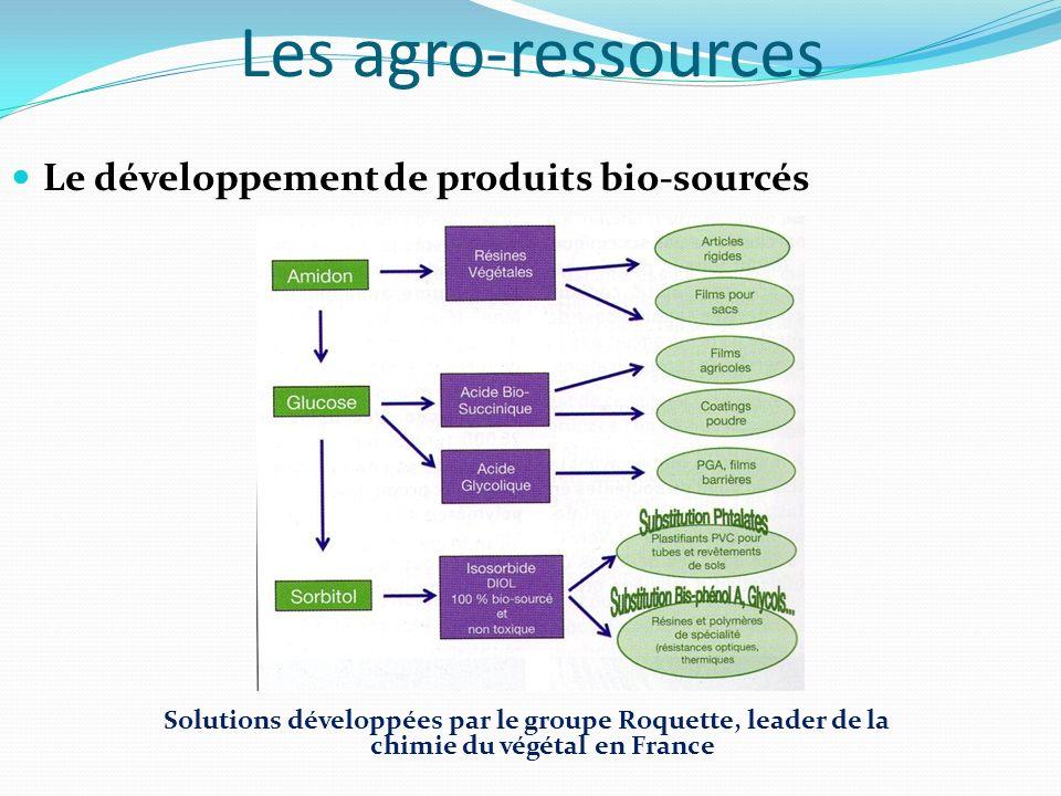 Les agro-ressources Le développement de produits bio-sourcés Solutions développées par le groupe Roquette, leader de la chimie du végétal en France
