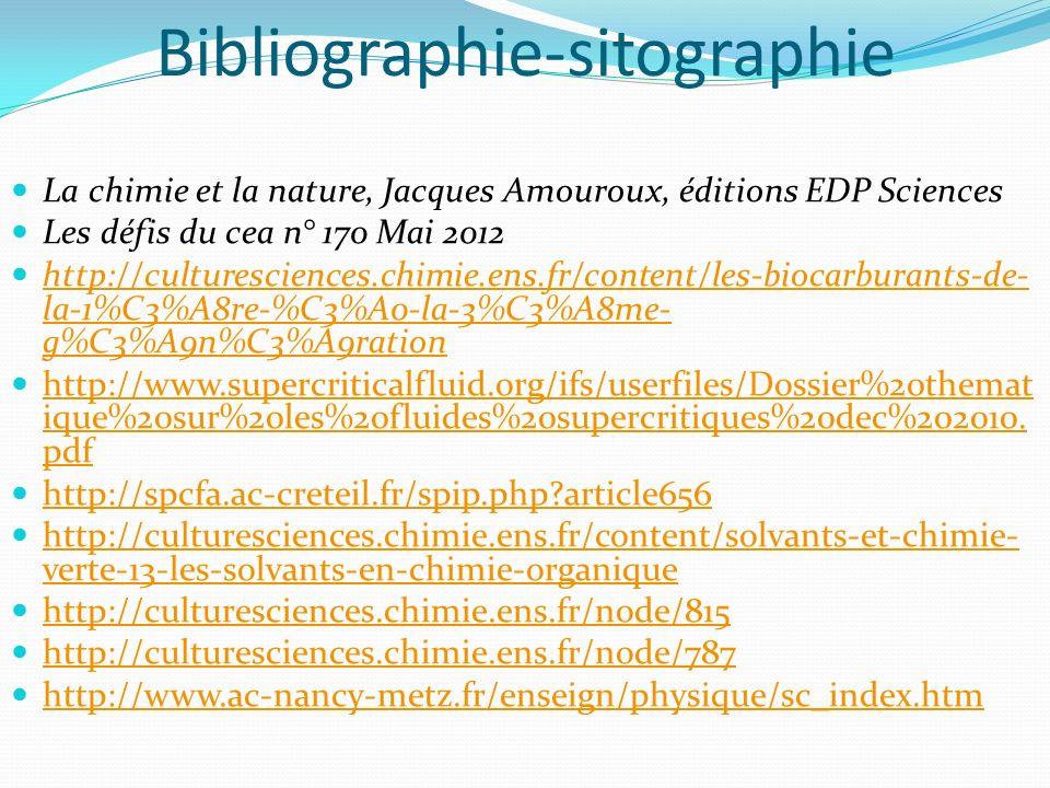 Bibliographie-sitographie La chimie et la nature, Jacques Amouroux, éditions EDP Sciences Les défis du cea n° 170 Mai 2012 http://culturesciences.chim
