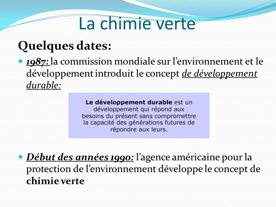 La chimie verte Quelques dates: 1987: la commission mondiale sur lenvironnement et le développement introduit le concept de développement durable: Déb