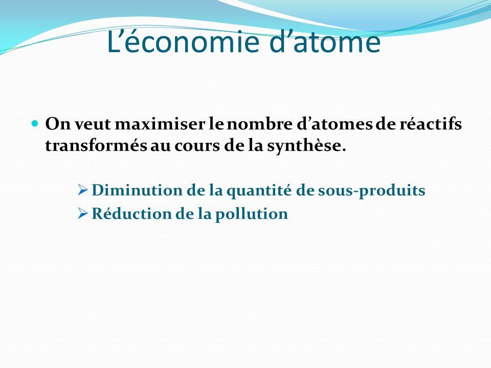 Léconomie datome On veut maximiser le nombre datomes de réactifs transformés au cours de la synthèse. Diminution de la quantité de sous-produits Réduc