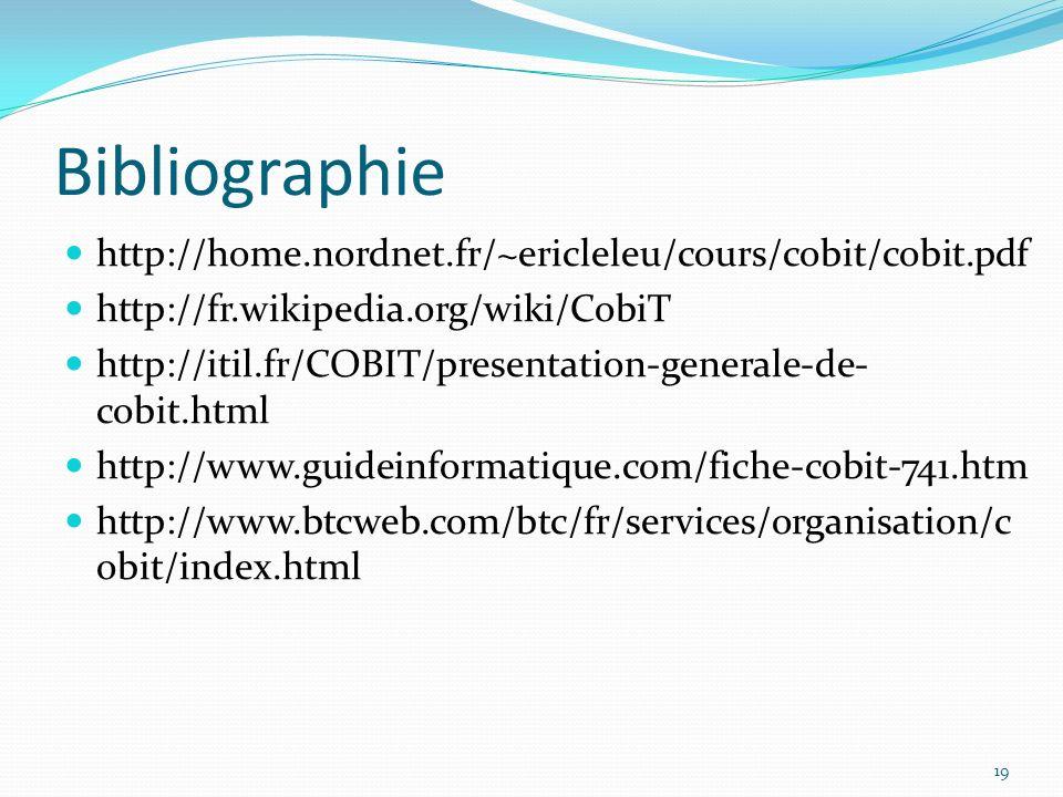Bibliographie http://home.nordnet.fr/~ericleleu/cours/cobit/cobit.pdf http://fr.wikipedia.org/wiki/CobiT http://itil.fr/COBIT/presentation-generale-de