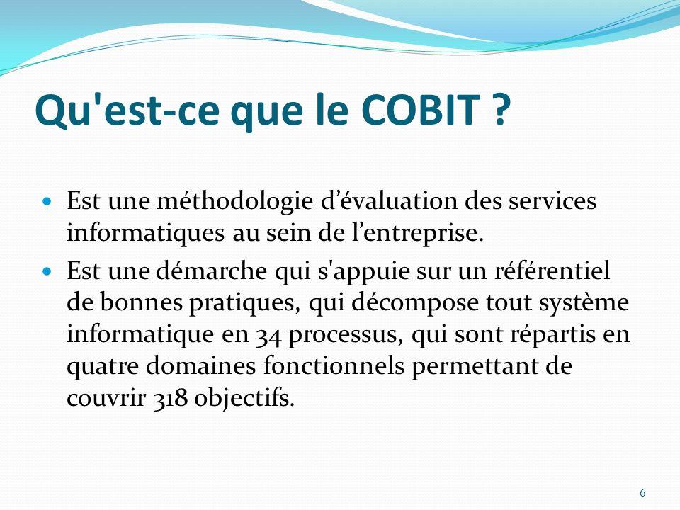 Qu'est-ce que le COBIT ? Est une méthodologie dévaluation des services informatiques au sein de lentreprise. Est une démarche qui s'appuie sur un réfé