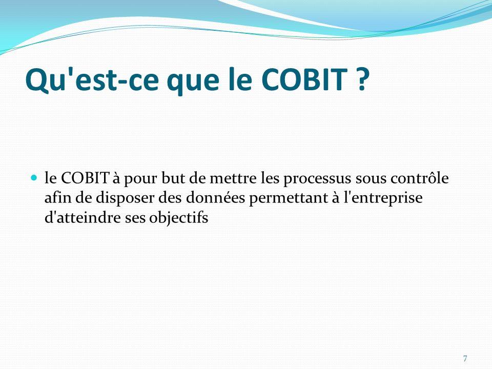 Conclusion COBIT peut être assimilé ou tout au moins rapproché des normes car : Il a une approche structurante : décomposition de tout système informatique en 4 domaines, 34 processus et 318 objectifs.