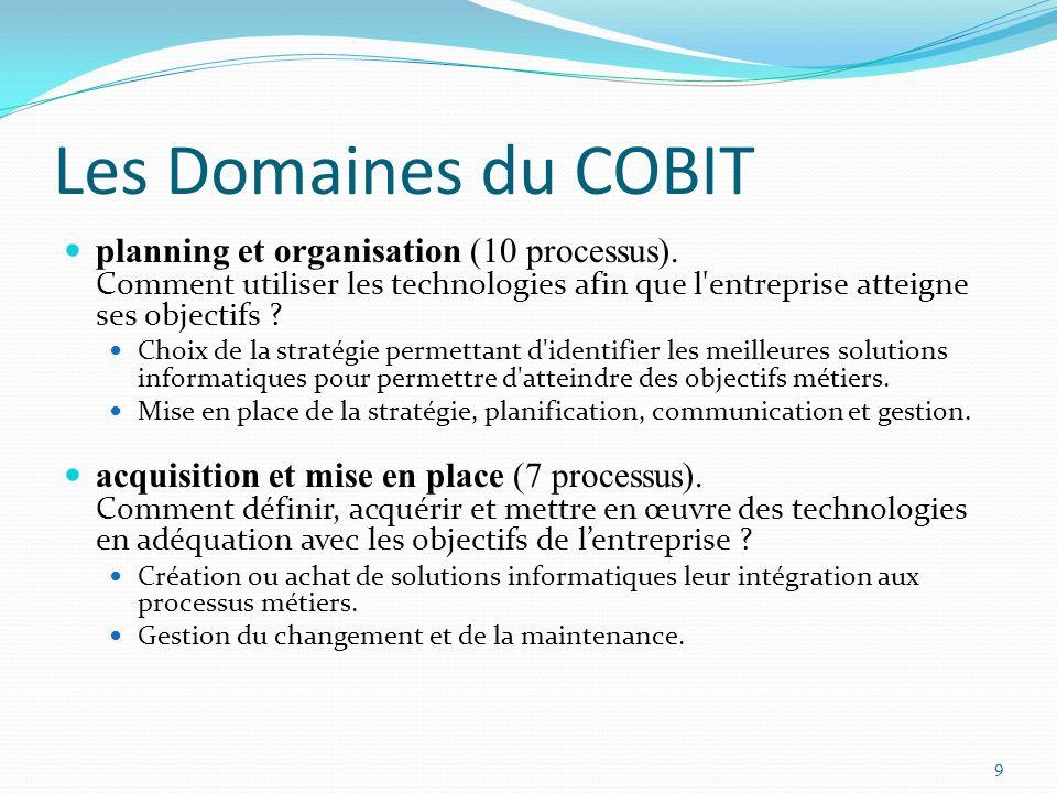 Les Domaines du COBIT planning et organisation (10 processus). Comment utiliser les technologies afin que l'entreprise atteigne ses objectifs ? Choix
