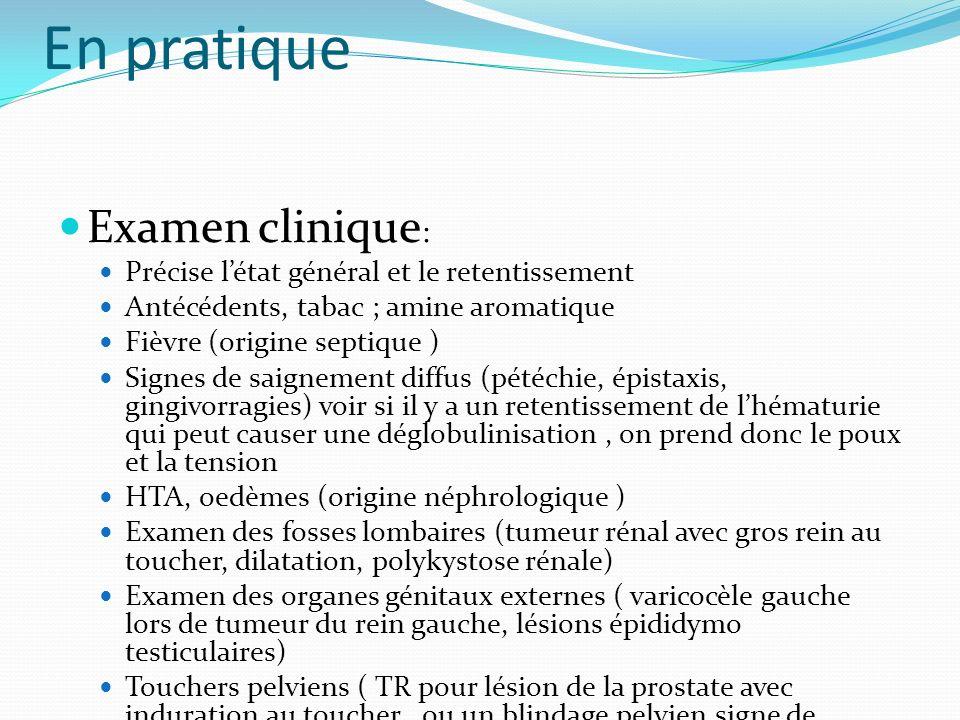 En pratique Examen clinique : Précise létat général et le retentissement Antécédents, tabac ; amine aromatique Fièvre (origine septique ) Signes de sa