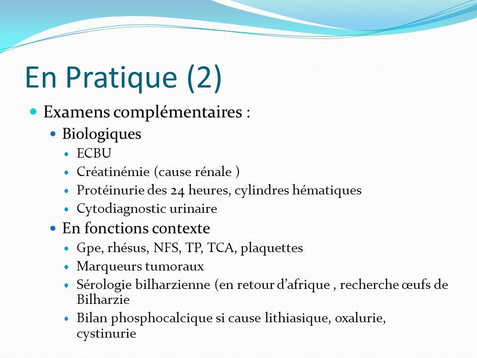 En Pratique (2) Examens complémentaires : Biologiques ECBU Créatinémie (cause rénale ) Protéinurie des 24 heures, cylindres hématiques Cytodiagnostic