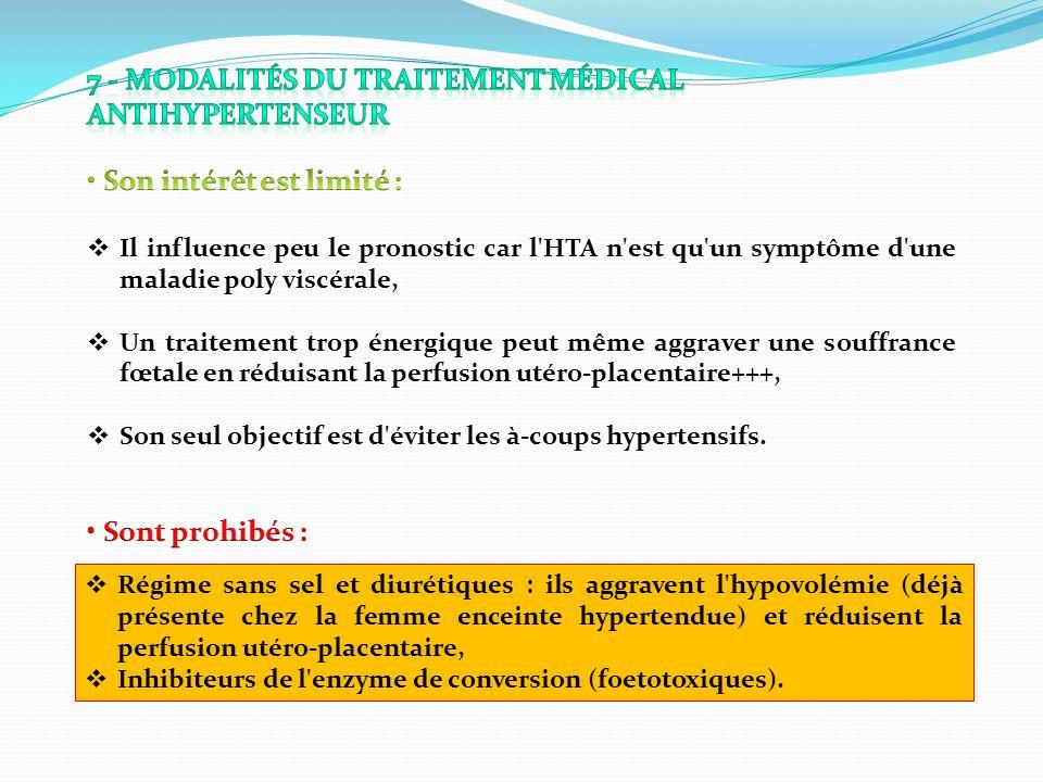 Régime sans sel et diurétiques : ils aggravent l'hypovolémie (déjà présente chez la femme enceinte hypertendue) et réduisent la perfusion utéro-placen