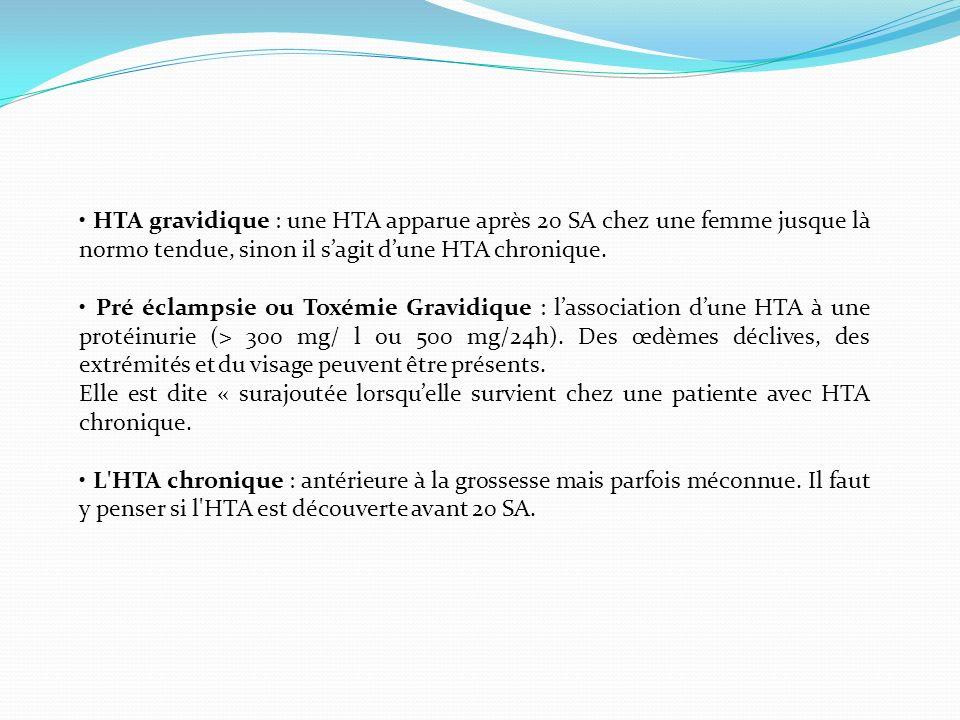 HTA gravidique : une HTA apparue après 20 SA chez une femme jusque là normo tendue, sinon il sagit dune HTA chronique. Pré éclampsie ou Toxémie Gravid