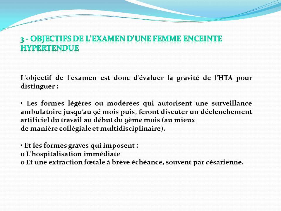 L'objectif de l'examen est donc d'évaluer la gravité de l'HTA pour distinguer : Les formes légères ou modérées qui autorisent une surveillance ambulat
